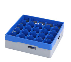 4550034 | Grey compartment basket Metos with blue heightening frame an |